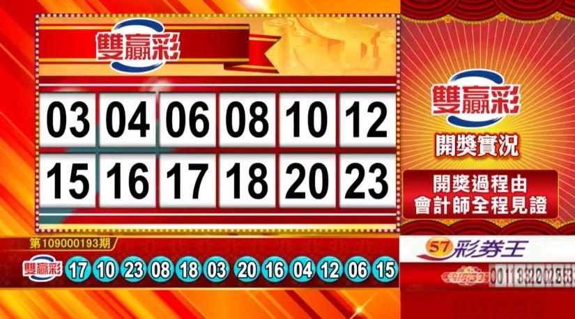 雙贏彩中獎號碼》第109000193期 民國109年8月12日 《#雙贏彩 #樂透彩開獎號碼》