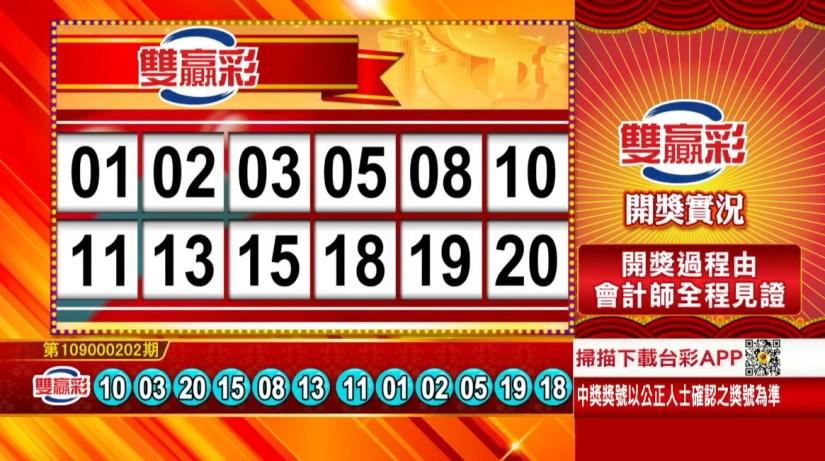 雙贏彩中獎號碼》第109000202期 民國109年8月22日 《#雙贏彩 #樂透彩開獎號碼》