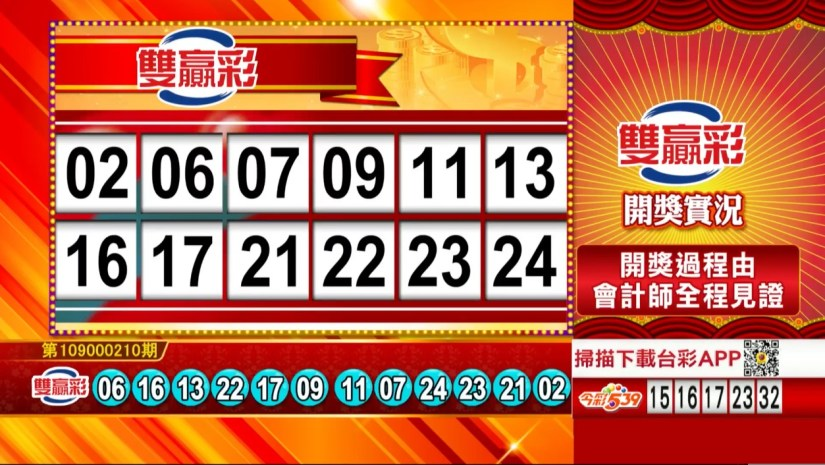 雙贏彩中獎號碼》第109000210期 民國109年9月1日 《#雙贏彩 #樂透彩開獎號碼》