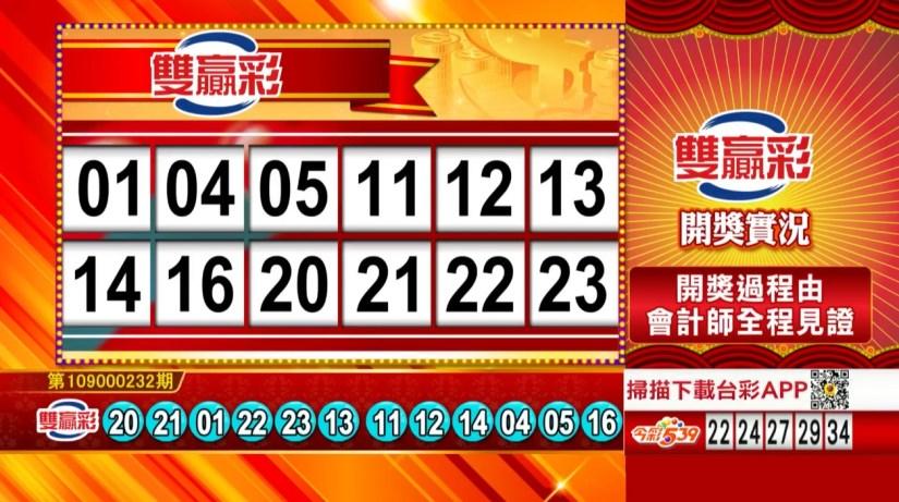 雙贏彩中獎號碼》第109000232期 民國109年9月26日 《#雙贏彩 #樂透彩開獎號碼》