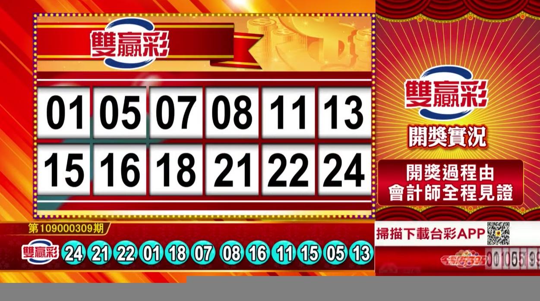 💰雙贏彩中獎號碼💰第109000309期 民國109年12月25日 《#雙贏彩 #樂透彩開獎號碼》