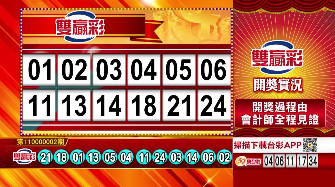 💰雙贏彩中獎號碼💰第110000002期 民國110年1月2日 《#雙贏彩 #樂透彩開獎號碼》