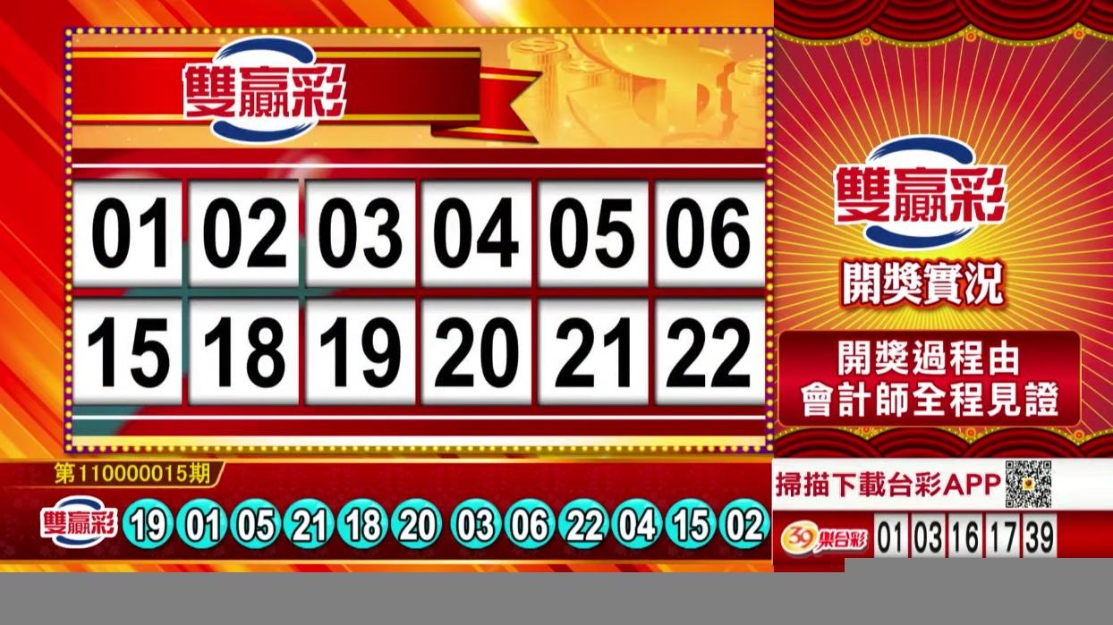 💰雙贏彩中獎號碼💰第110000015期 民國110年1月18日 《#雙贏彩 #樂透彩開獎號碼》