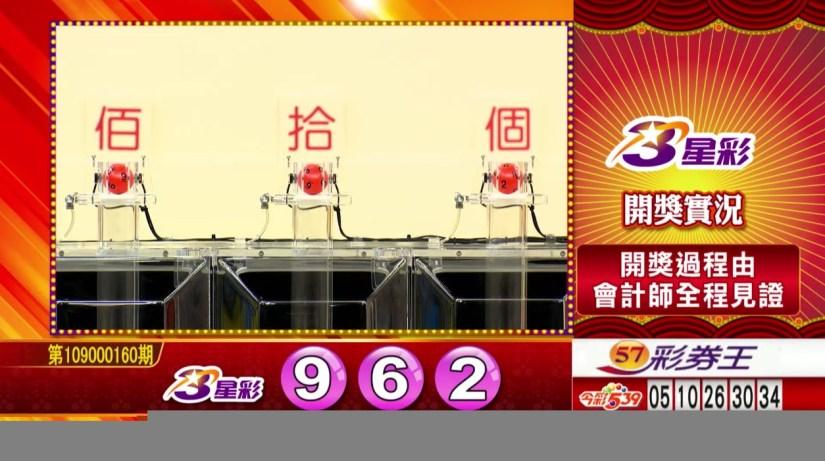 3星彩中獎號碼》第109000160期 民國109年7月4日 《#3星彩 #樂透彩開獎號碼》
