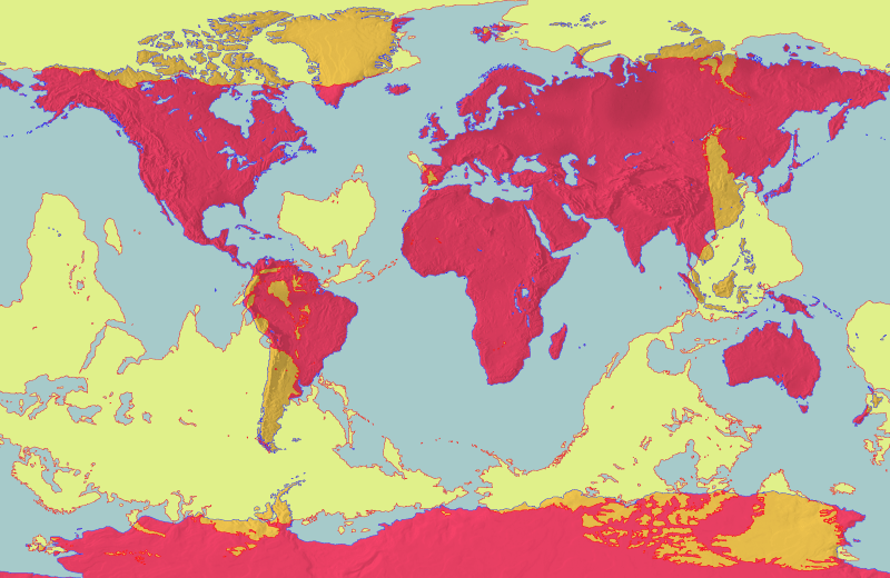 Carte du monde montrant les antipodes