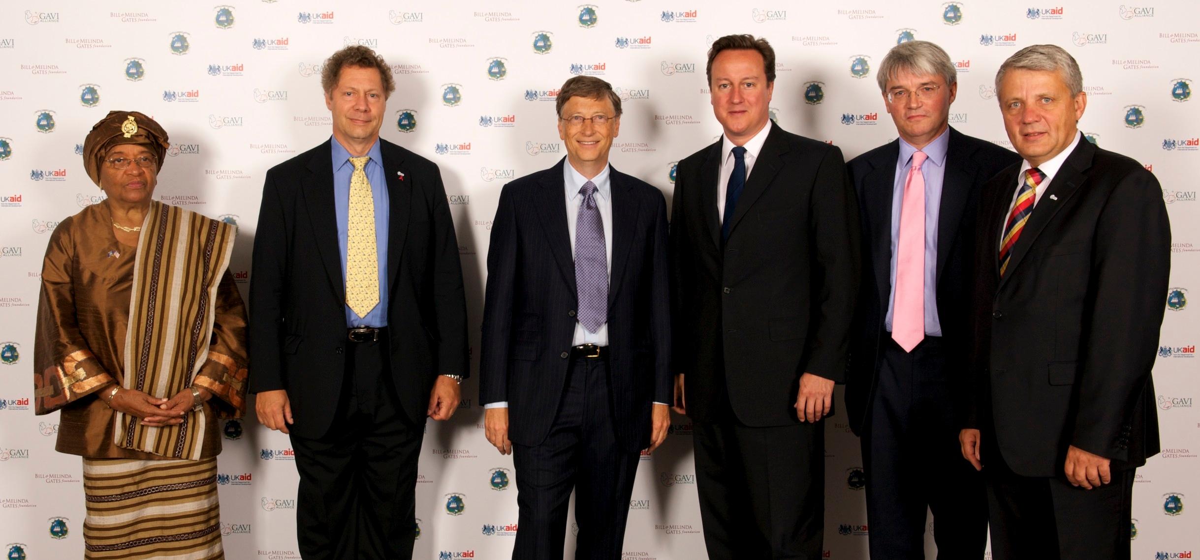 FileDavid Cameron Andrew Mitchell Bill Gates and Ellen
