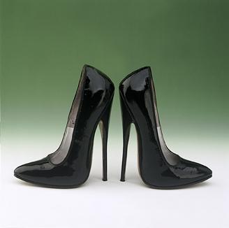 English: Black Patent Leather Fetish Shoes 197...