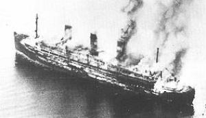 The burning Cap Arcona shortly after the attack.