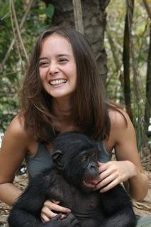 Image of Vanessa Woods with bonobo at Lola ya ...