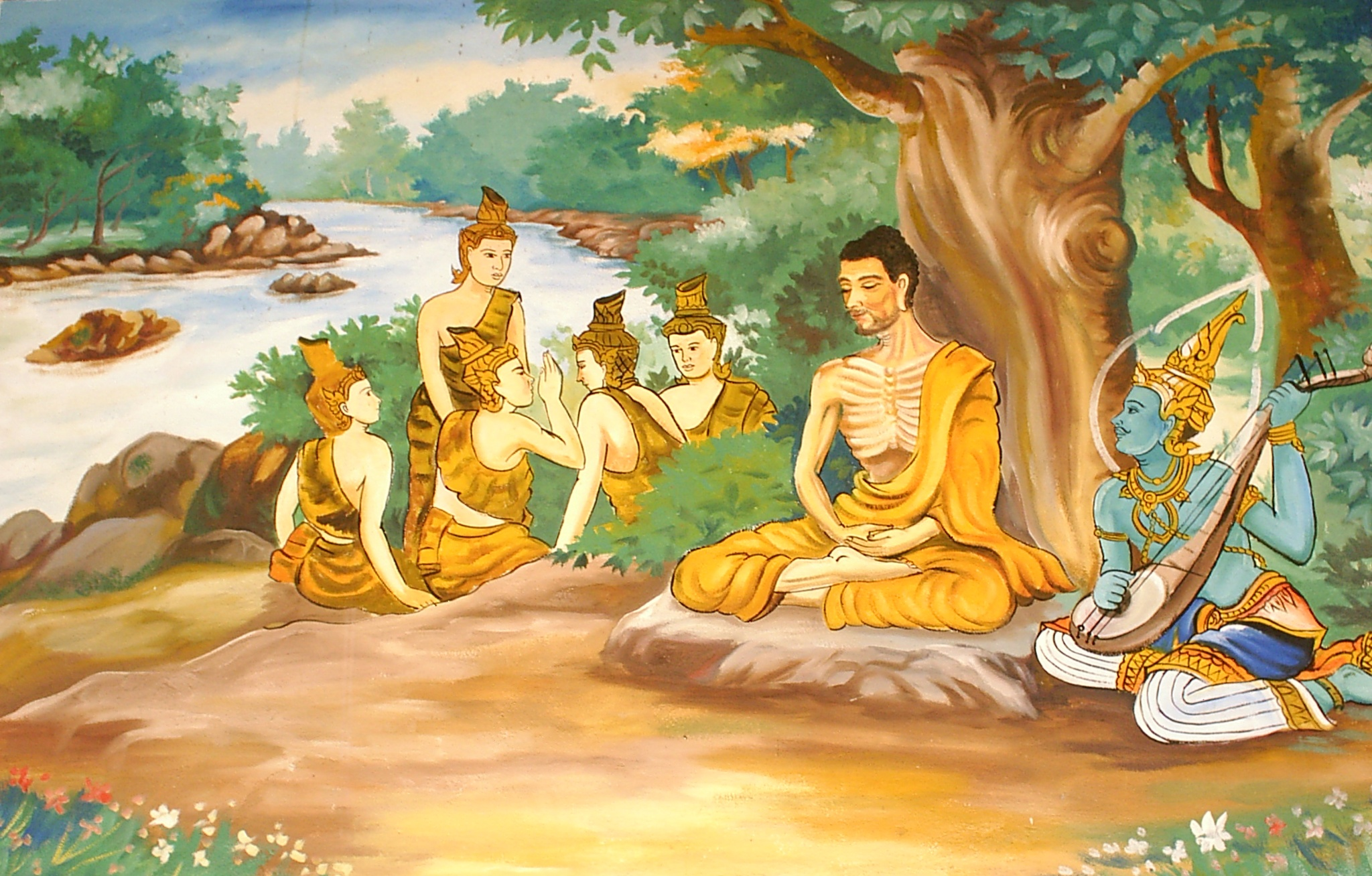 Gautama Buddha undertaking extreme ascetic practices before his enlightenment on the bank of river Phalgu in Bodh Gaya, Bihar.