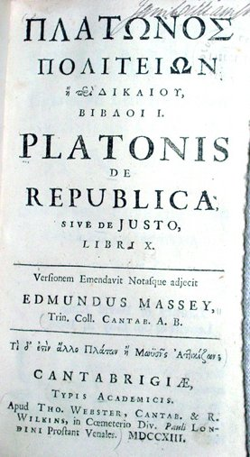 Plato's The Republic, Latin edition cover, 1713