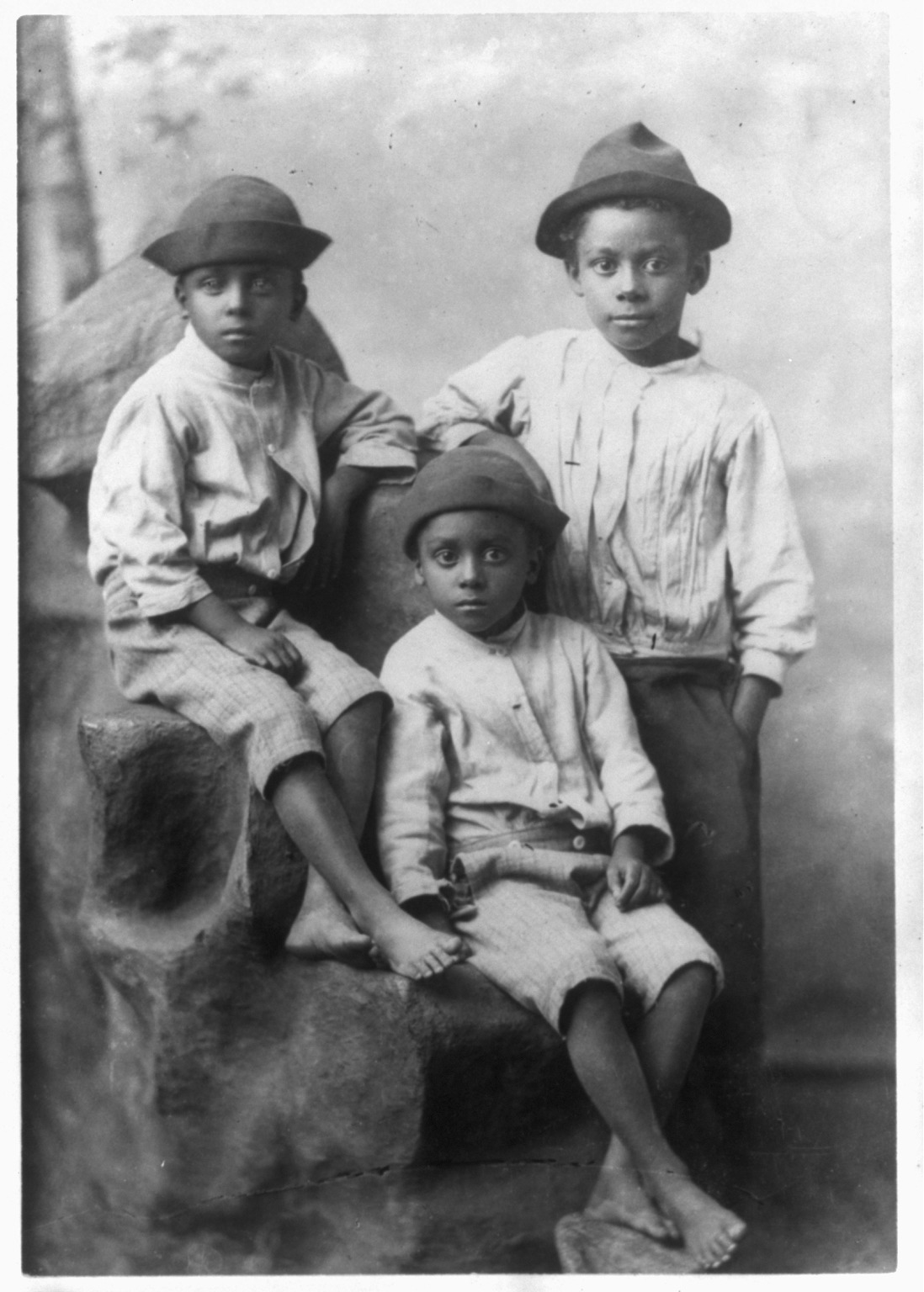 File Three African American Boys Full Length Portrait
