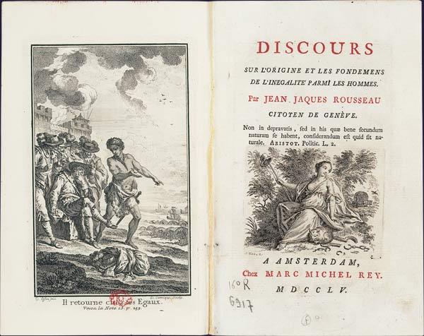 "Frontispiece and title page of the book by Jean-Jacques Rousseau's ""Discourse on the origins and foundations of inequality among men"" (1754), published in 1755 in the Netherlands."