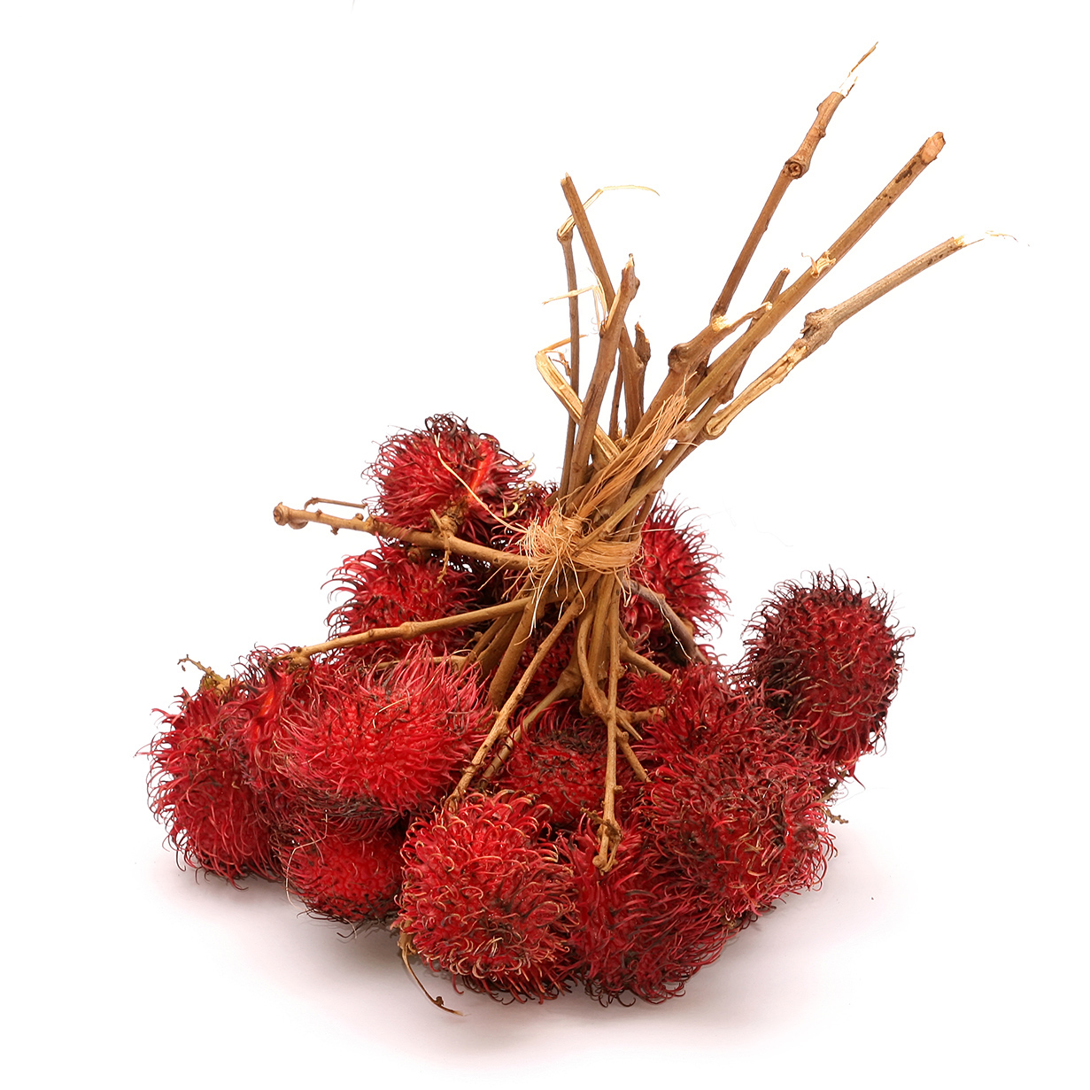 A Bundle Of Fuzzy Red Fruits On Woody Stems