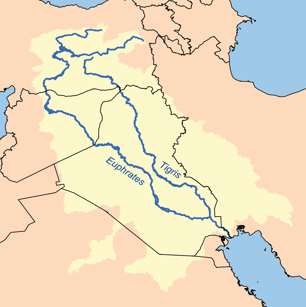 The Iran-Iraq border runs through the Tigris w...