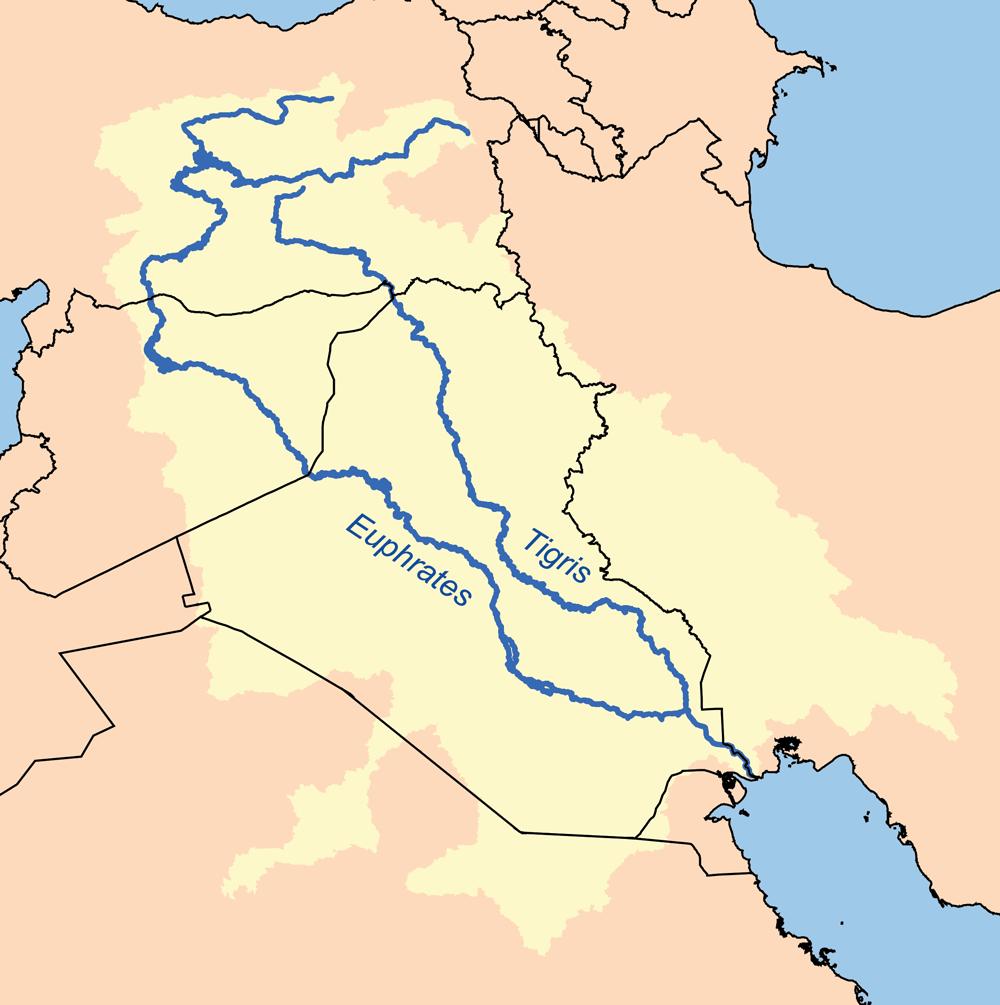 The Iran-Iraq border runs through the Tigris w...