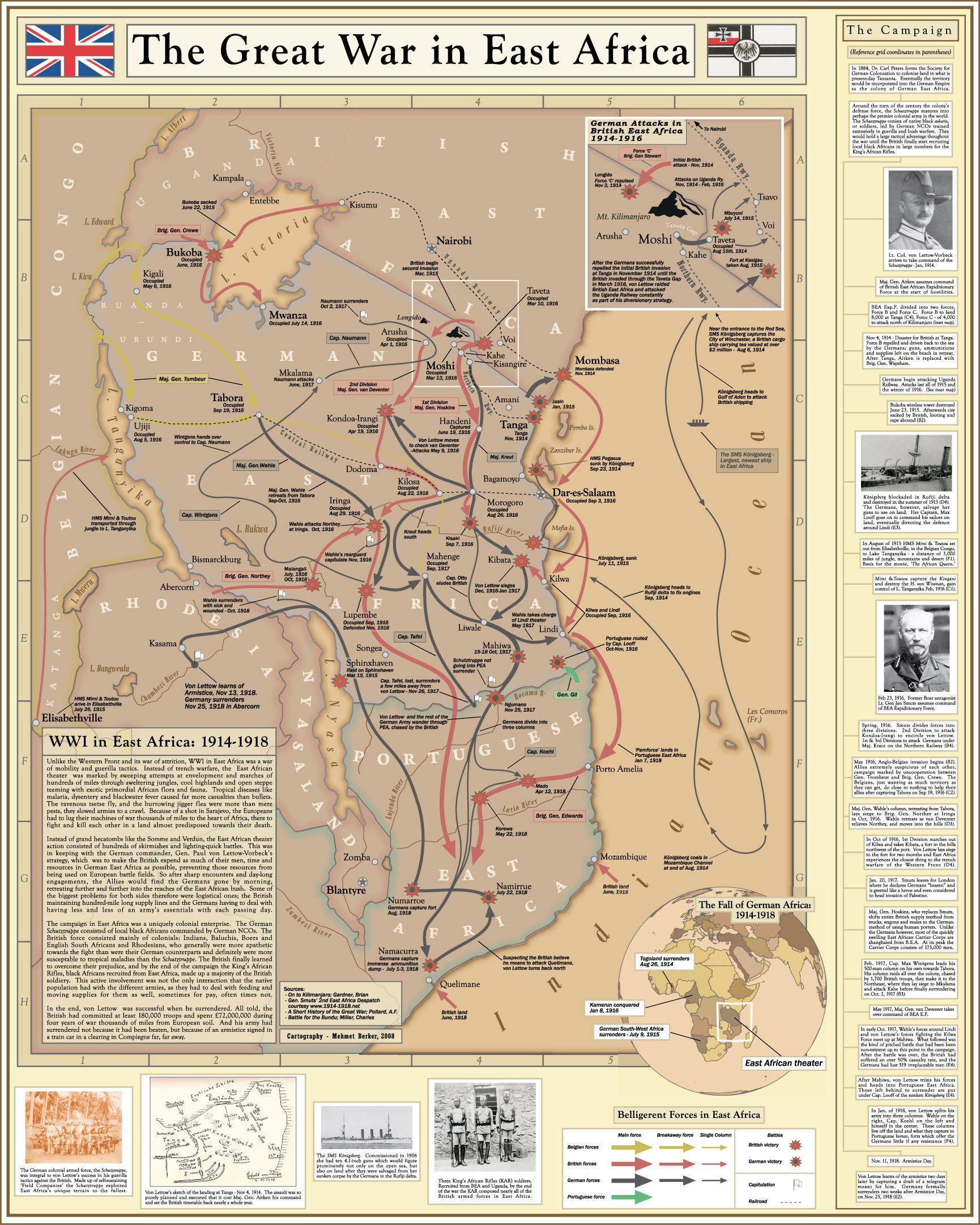 Les combats de 1914-1918 en Afrique Orientale Allemande - Wikicommons