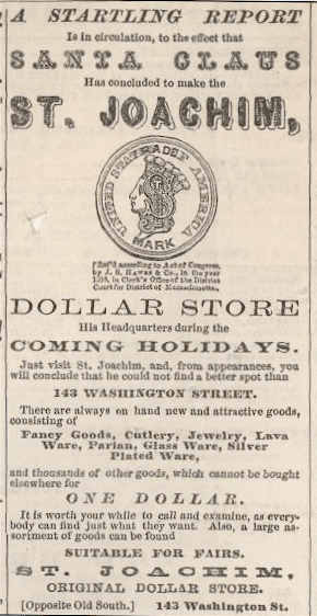 Ad for St. Joachim Dollar Store, Boston. From:...