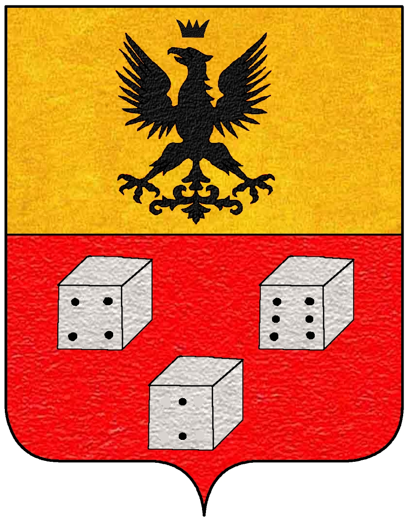 see Dice in heraldry from Wikipedia (http://commons.wikimedia.org/wiki/Category:Dice_in_heraldry)