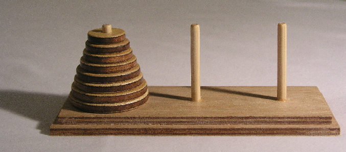Tower of Hanoi, mathematical puzzle.