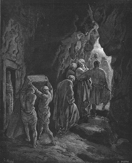 Woodcut by Gustave Doré of the burial of Sarah in the cave of that burial ground Abraham bought, picture of the woodcut is available on Wikipedia