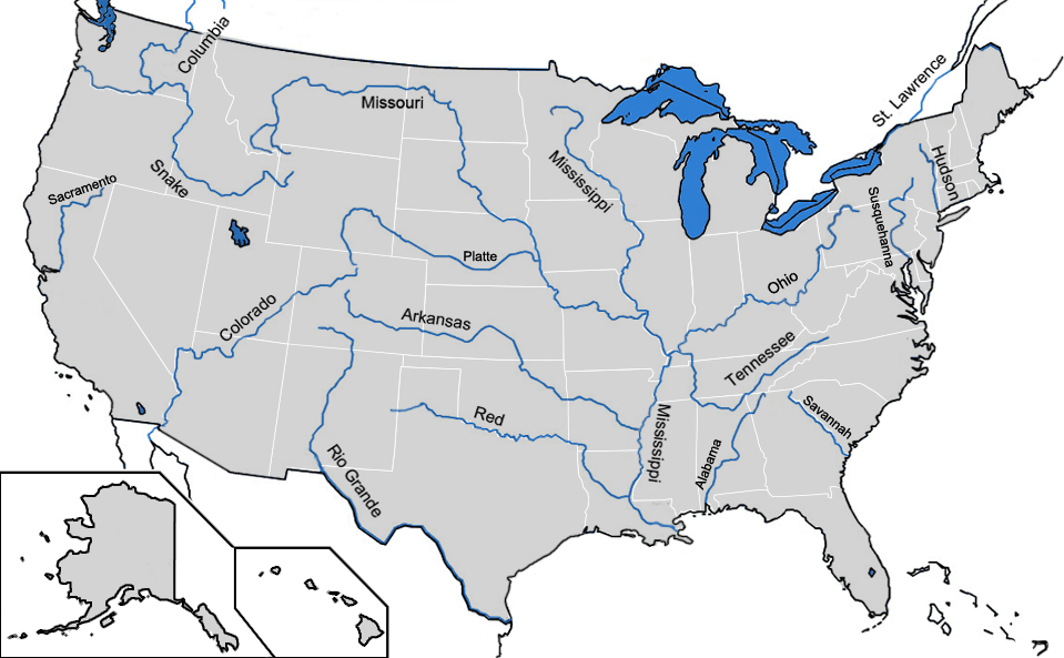 Map Of Us Rivers Labeled - Map of the us rivers and lakes