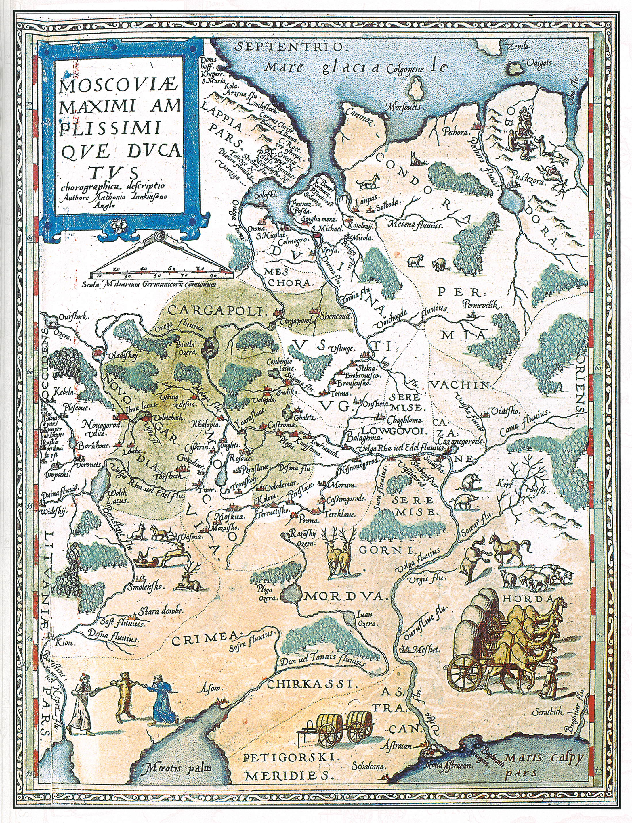 Dutch map of Muscovy - the maximum (size) of the Grand Duchy. 1593.