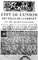Edict of union between the towns of Clermont a...