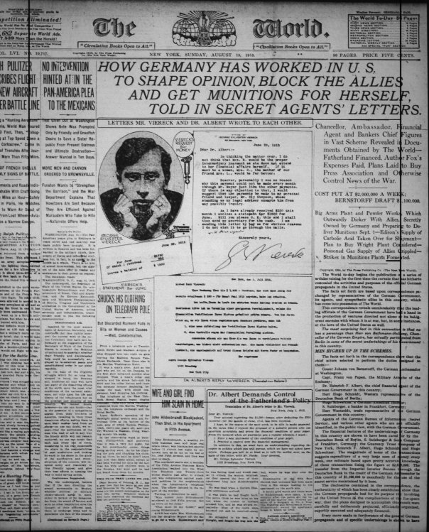 Image result for 1915 – A story in New York World newspaper reveals that the Imperial German government had purchased excess phenol from Thomas Edison that could be used to make explosives for the war effort & diverted it to Bayer for aspirin production