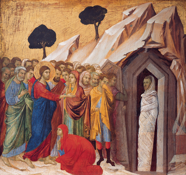 Lazarus emerges from the tomb