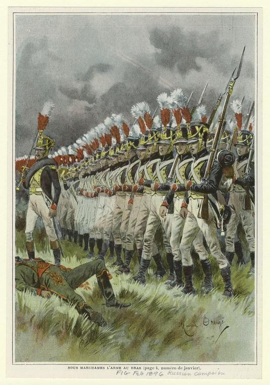 The French attack. Russian campaign of 1812. Picture of 1896.