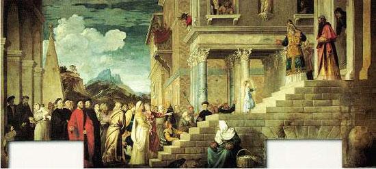 Jungfrun presenteras vid templet