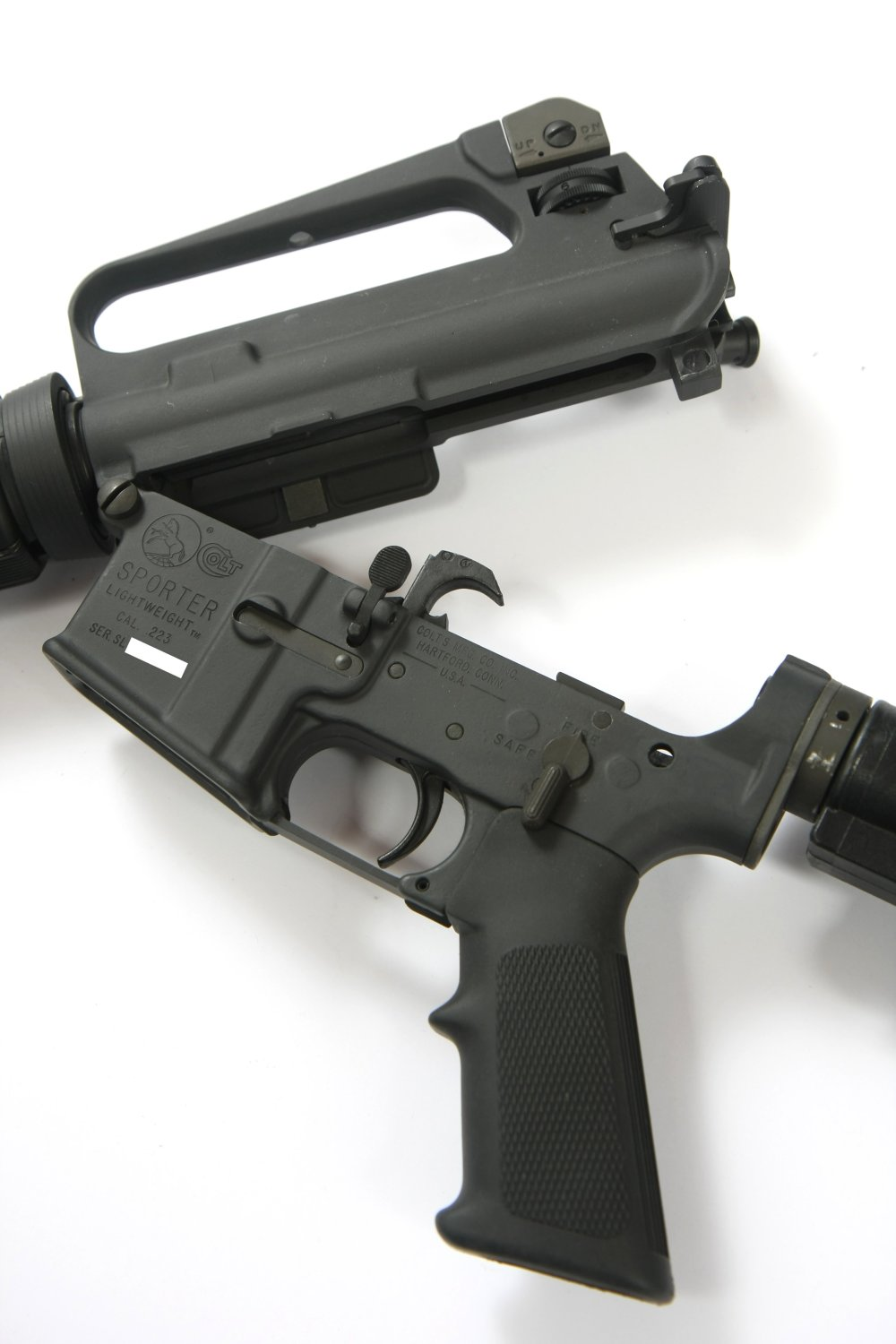 medium resolution of ar 15a2 with the upper and lower receiver opened at the front hinge