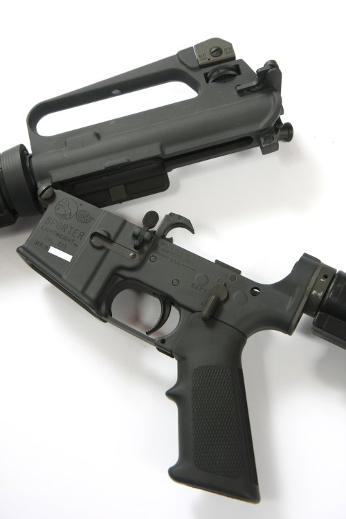 small resolution of ar 15a2 with the upper and lower receiver opened at the front hinge