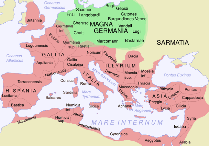 Map of The Roman Empire in 116 AD and Germania Magna, with some Germanic tribes mentioned by Tacitus (Source: Wikimedia Commons)