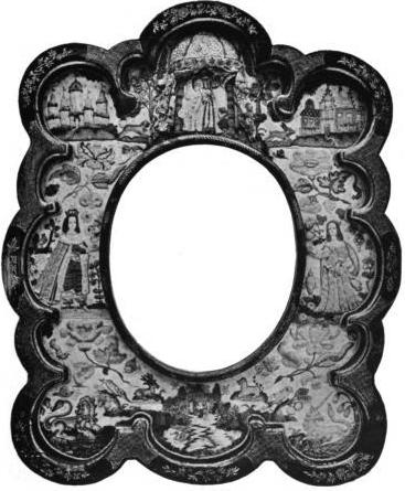 Stumpwork mirror frame c.1630