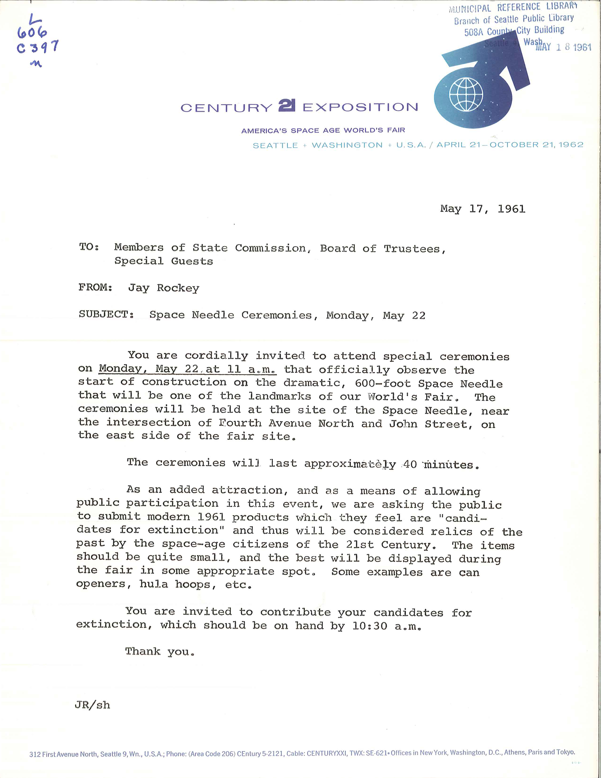 File Invitation To Space Needle Groundbreaking 1961
