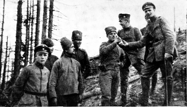 Meeting of the German and Russian soldiers in no man's land.