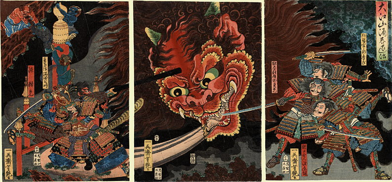 『大江山絵巻』 源頼光一行が大江山に住む酒呑童子を退治する場面。