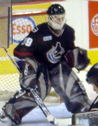 Goaltender Dan Cloutier with the Vancouver Can...