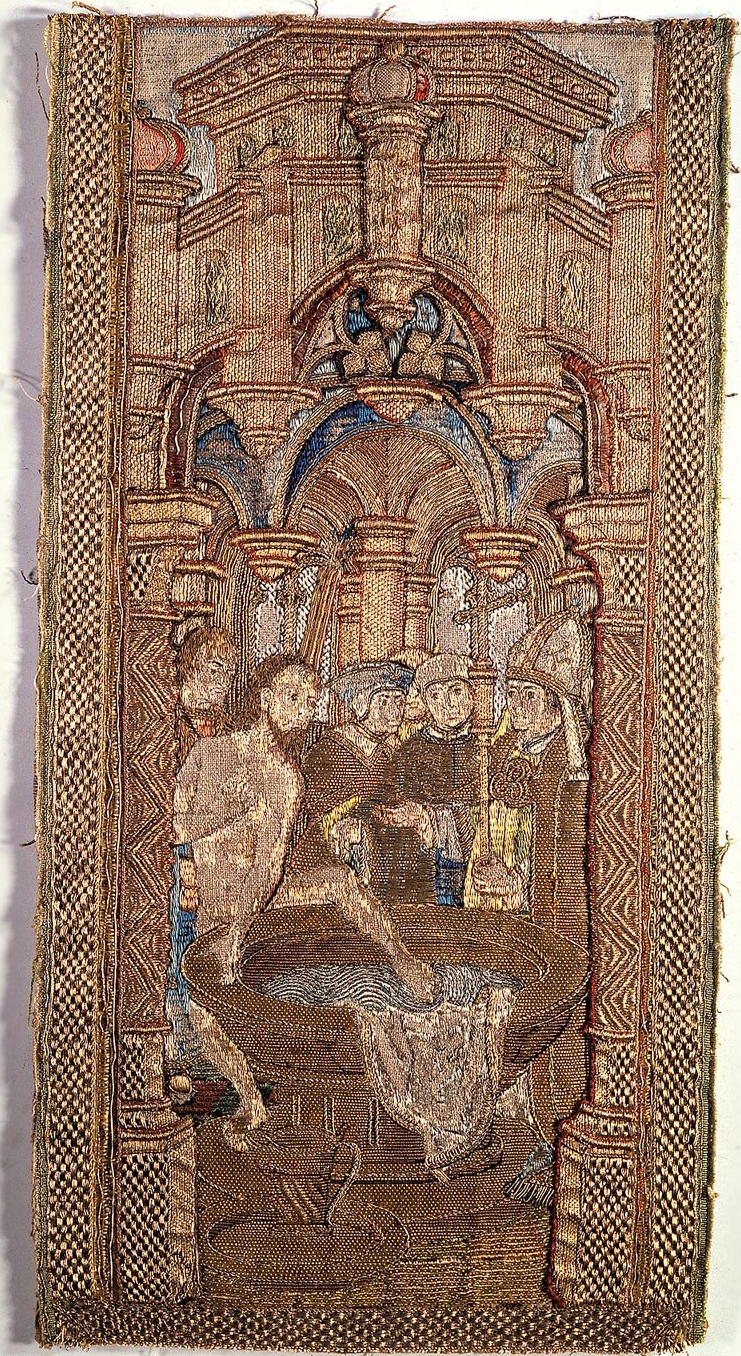 Embroidery depicting Radbod refusing baptism
