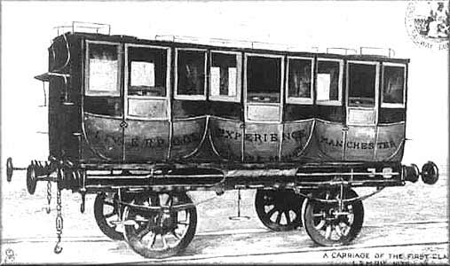 Passenger wagon on the Liverpool-Manchester line.