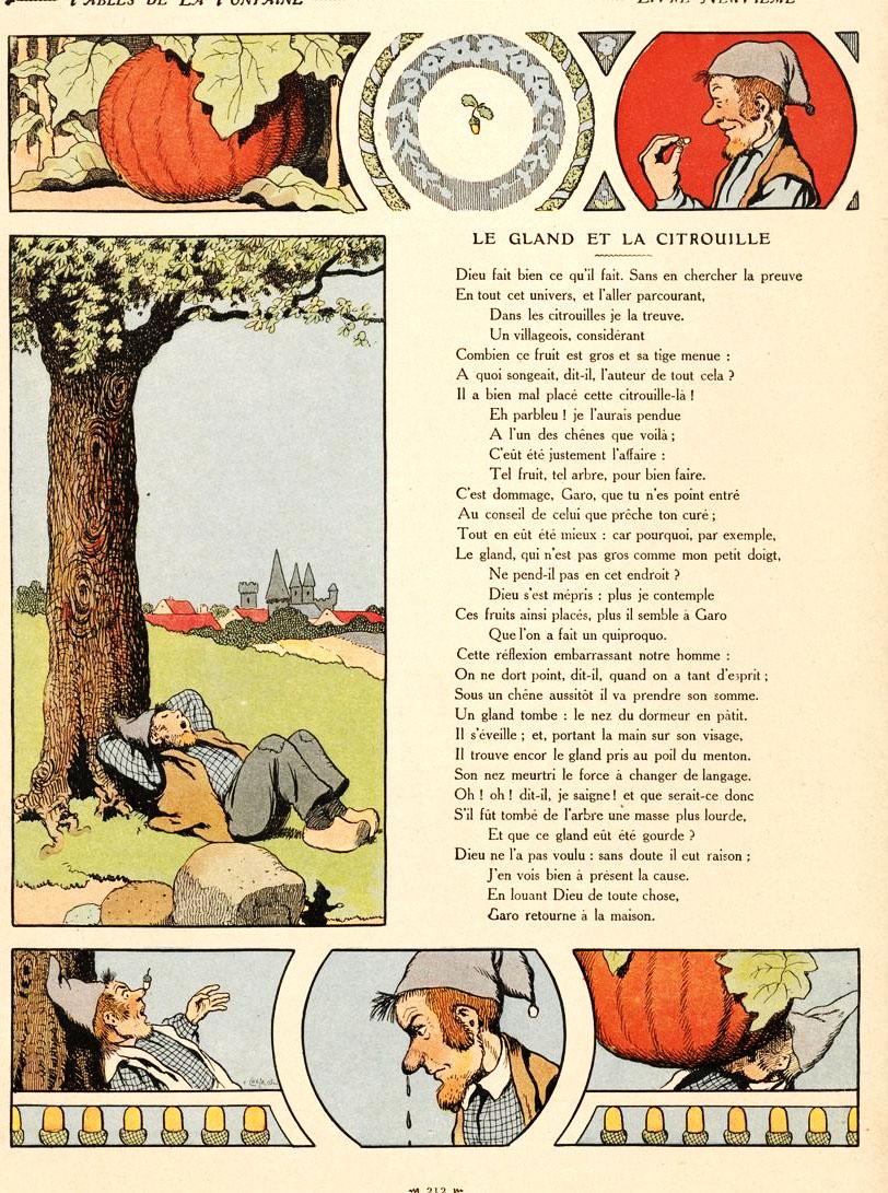 Le Gland Et La Citrouille : gland, citrouille, File:Rabier, Fables, Fontaine, Gland, Citrouille.jpg, Wikimedia, Commons