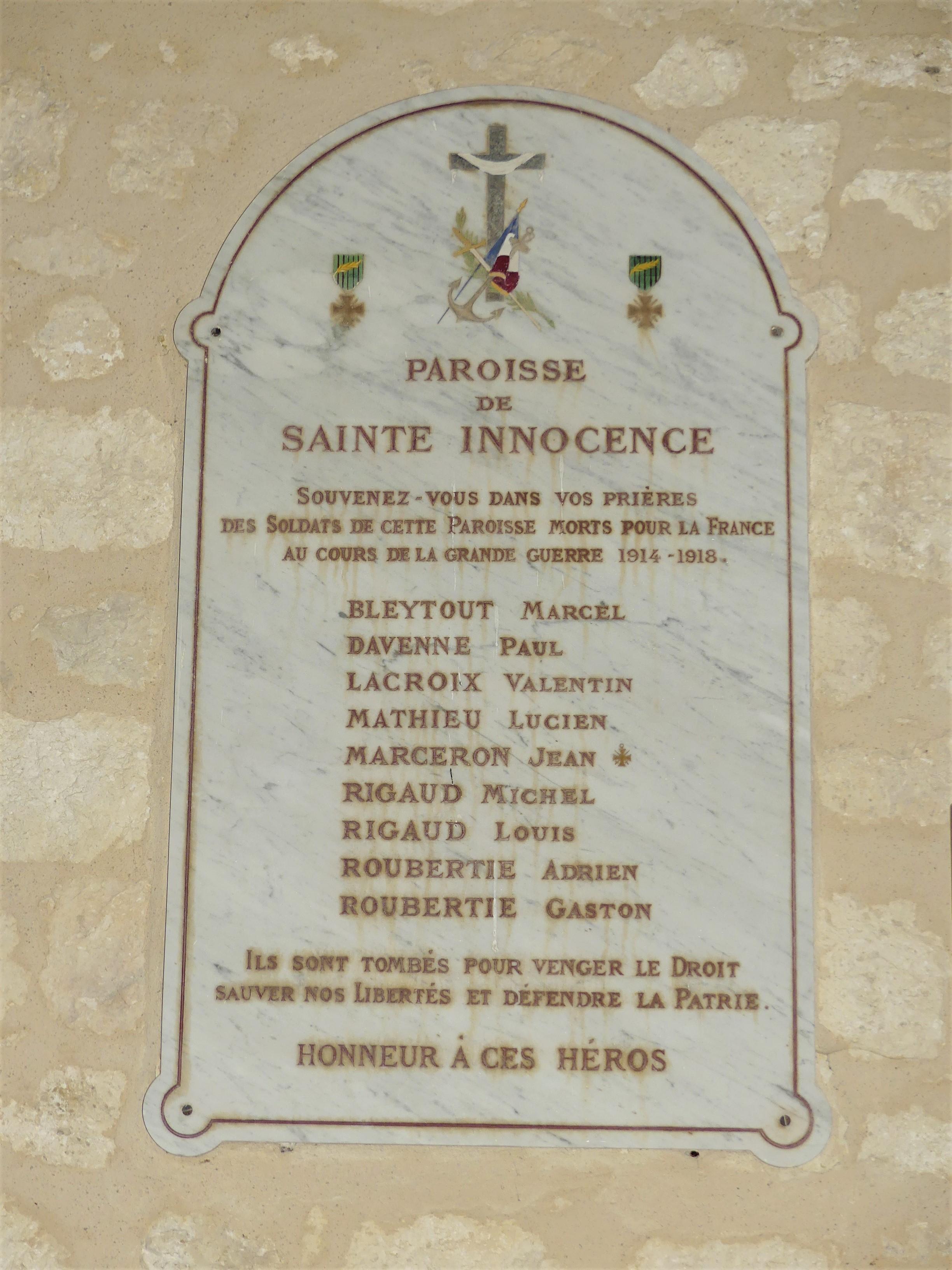 Pour La Patrie L Honneur Et Le Droit : patrie, honneur, droit, File:Sainte-Innocence, église, Mémorial.jpg, Wikimedia, Commons