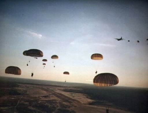 US Army Rangers parachute into Grenada during Operation Urgent Fury