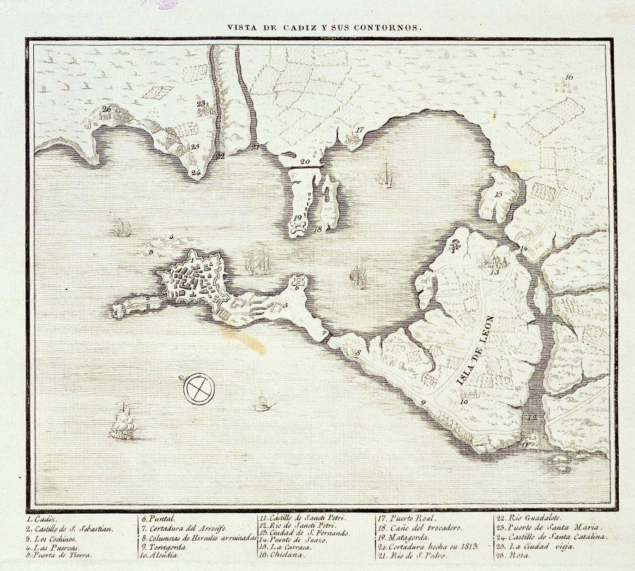 Vista de Cádiz y sus contornos (ca. 1813)