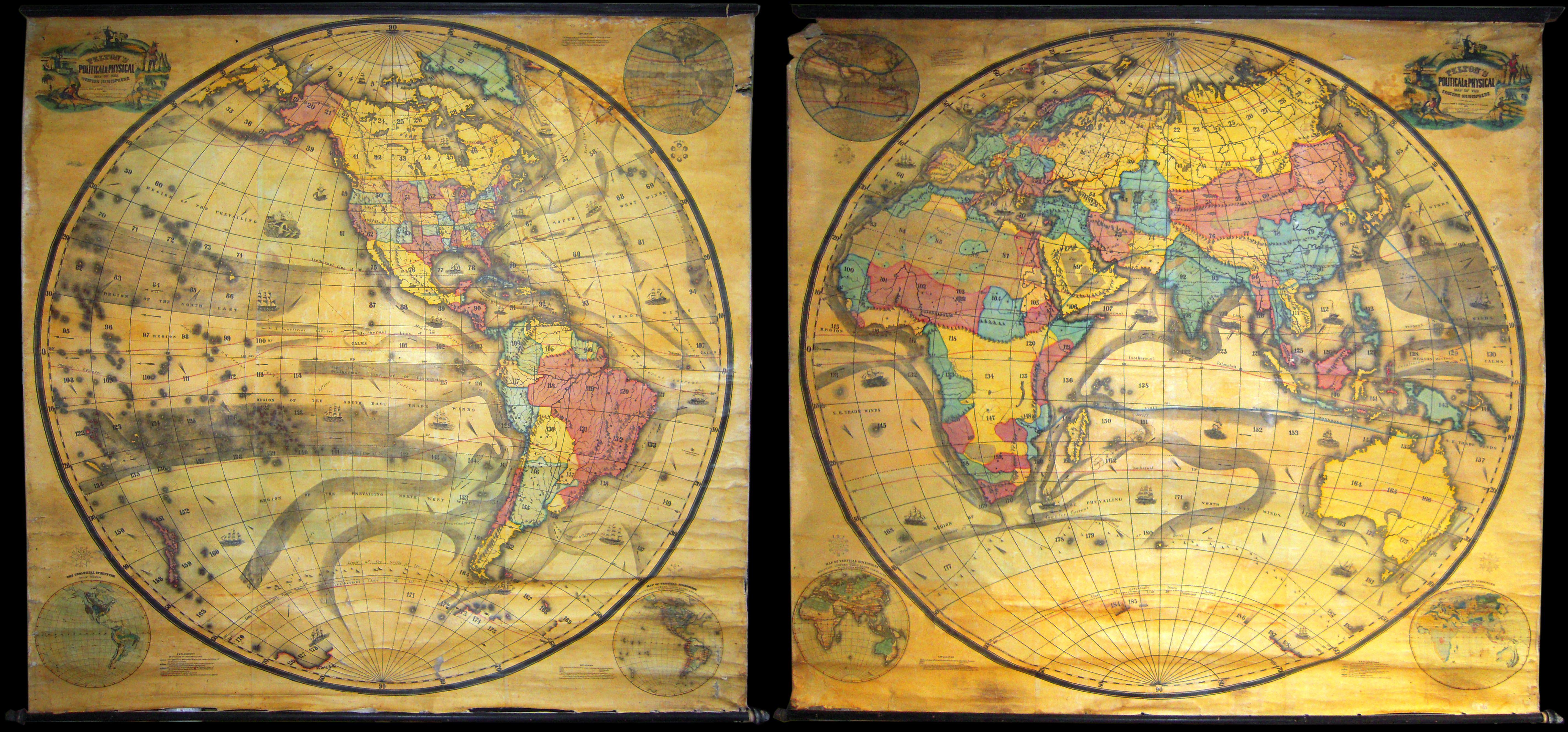 File Set Of Two Pelton Wall Maps Western Hemisphere