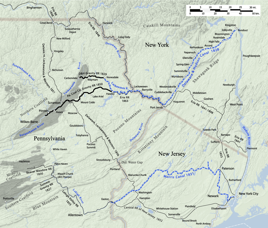 Map of the Lackawaxen River vicinity