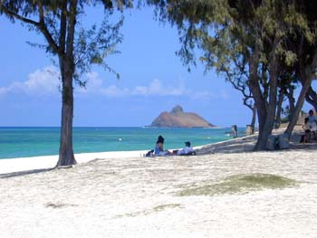View across Kailua Beach to the offshore islet...