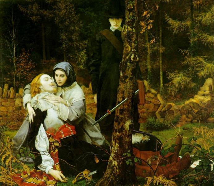 Allegory of the English Civil War by William Shakespeare Burton (1855). A Royalist lies wounded on the ground, a Puritan in black stands in the background.